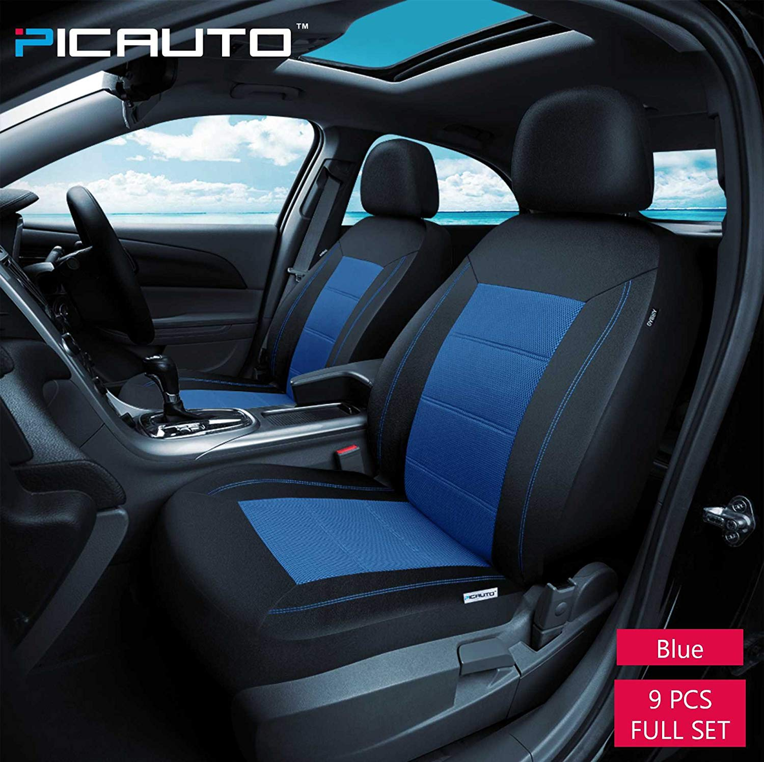 PIC Auto Universal Fit Full Set Mesh and Leather Car Seat Cover