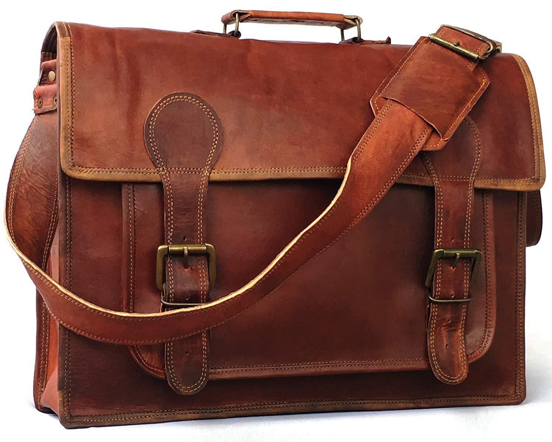 Vintage couture 18 Inch leather laptop messenger genuine business bag