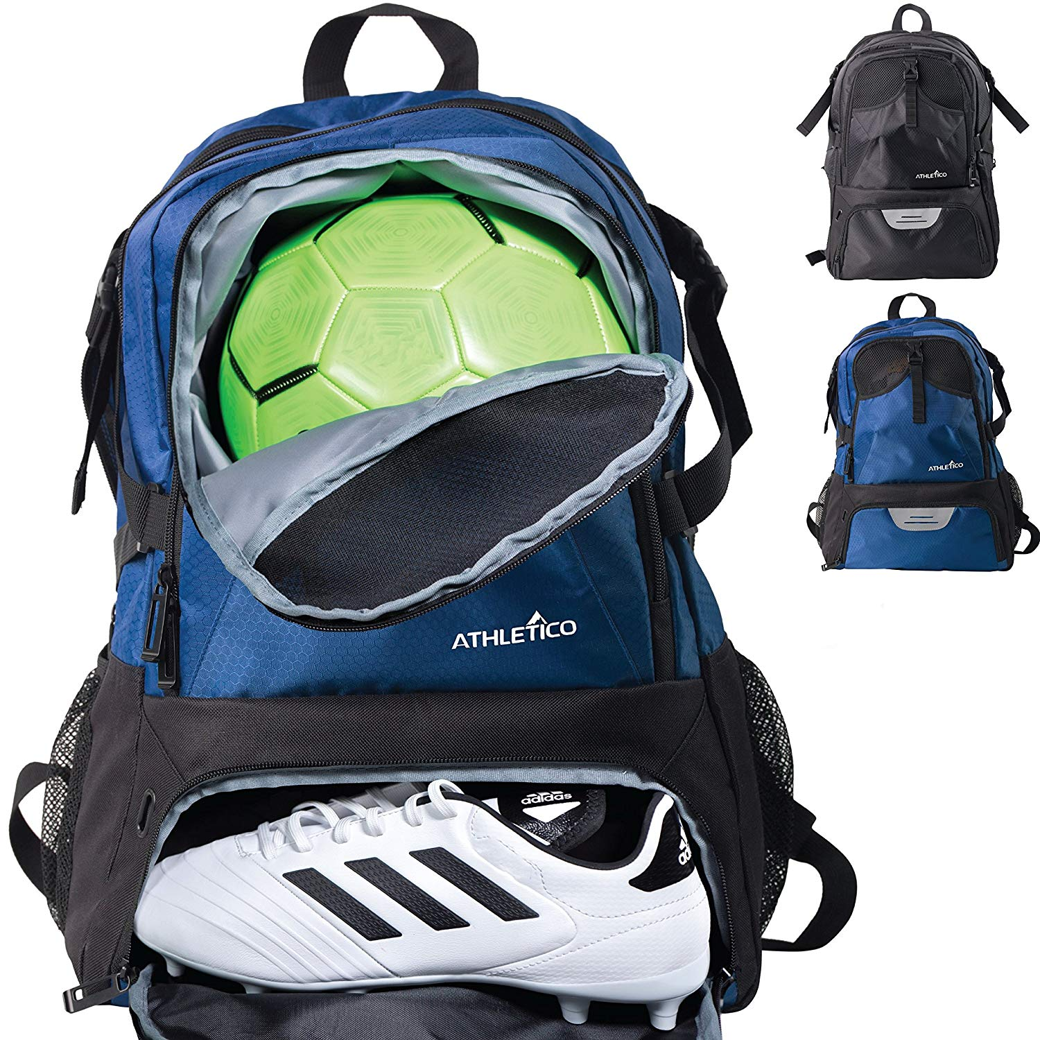 Athletico national soccer bag – backpack for soccer, basketball & football includes separate cleat and ball holder – youth, kids, girls, boys, men & women