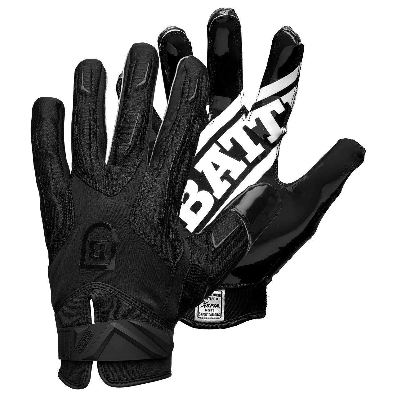 Battle Sports Science Warm Polar Fleece Ultra-Stick Football Gloves -Black/Black