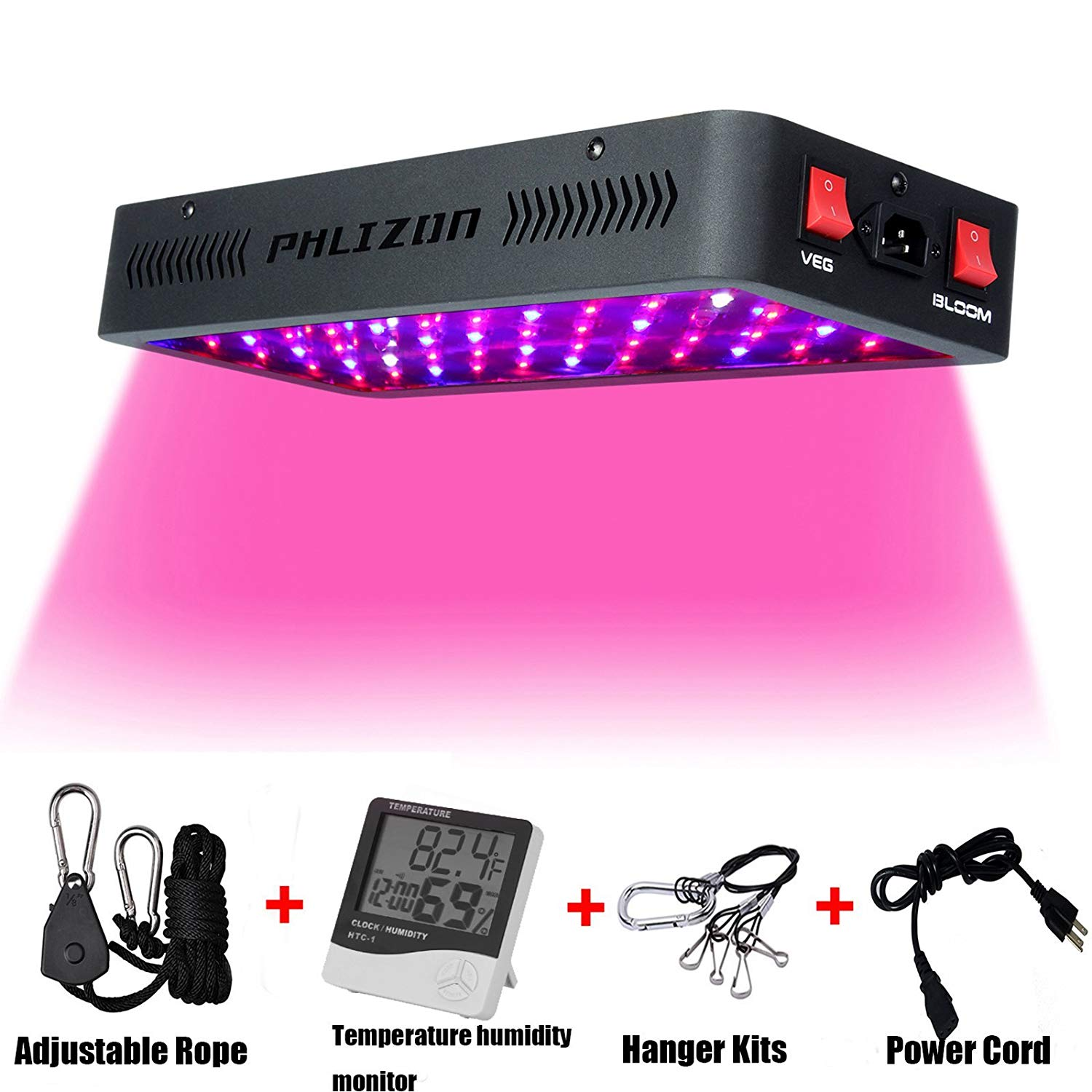 Phlizon Newest 600W LED Plant Grow Light,with Thermometer Humidity Monitor,with Adjustable Rope,Full Spectrum Double Switch Plant Light for Indoor Plants Veg and Flower- 600W(10W Leds 60Pcs)