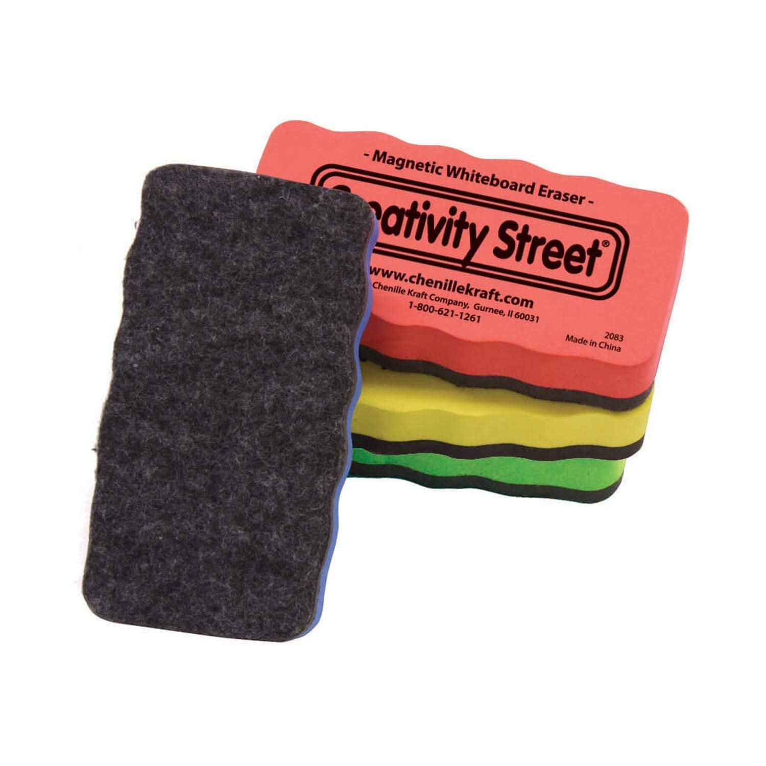 Creativity Street Magnetic Chalk and Whiteboard Erasers, 4-Pack (AC2083)