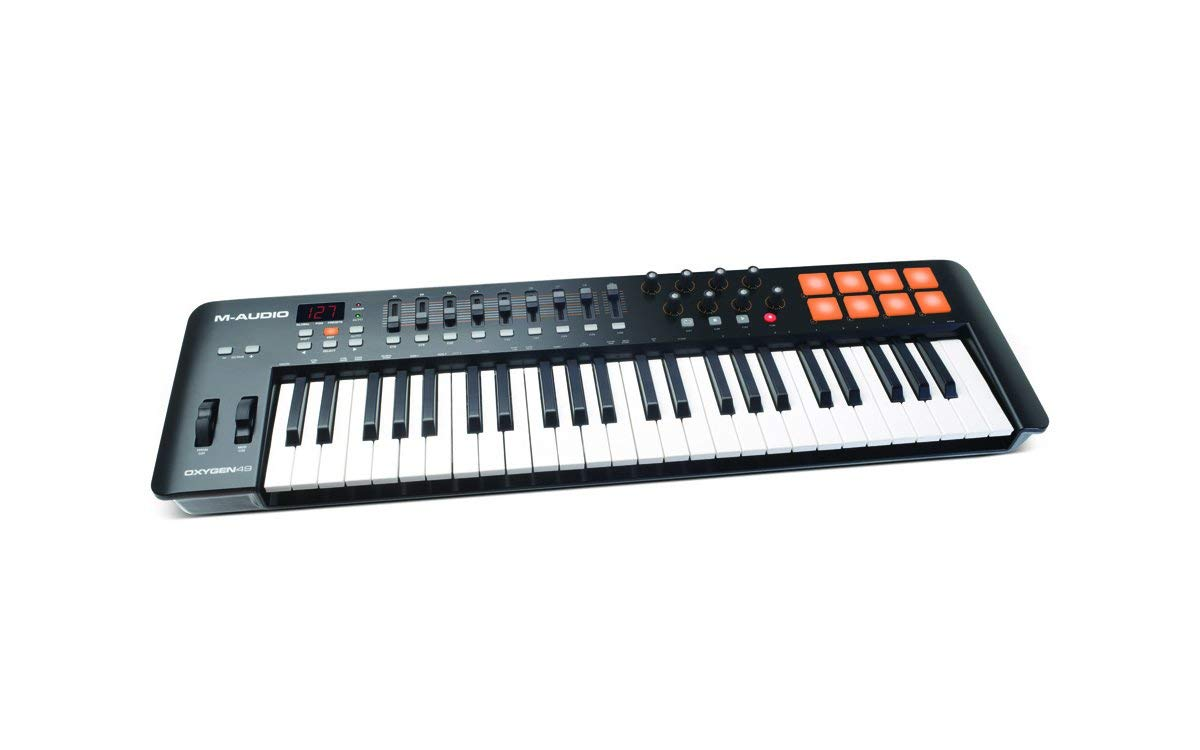 M-Audio Oxygen 49 MKIV   49-Key USB MIDI Keyboard & Drum Pad Controller (8 Pads/8 Knobs/9 Faders), VIP Software Download Included