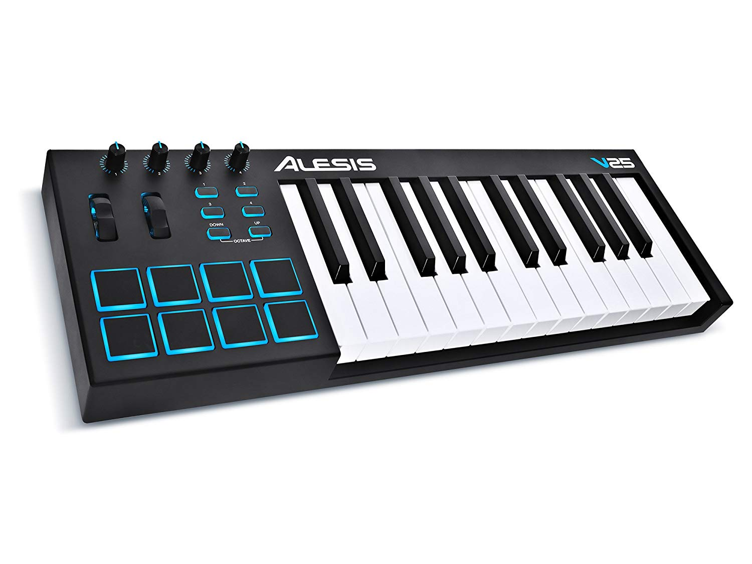 Alesis V25   25-Key USB MIDI Keyboard & Drum Pad Controller (8 Pads/4 Knobs/4 Buttons)