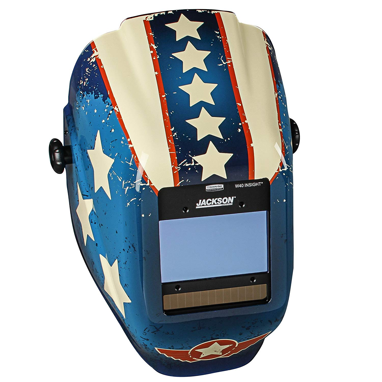 Jackson Safety Insight Variable Auto Darkening Welding Helmet (46101), HLX, 370 Comfortable Headgear, Ultra-Light Shell, Stars & Scars, 1 Helmet