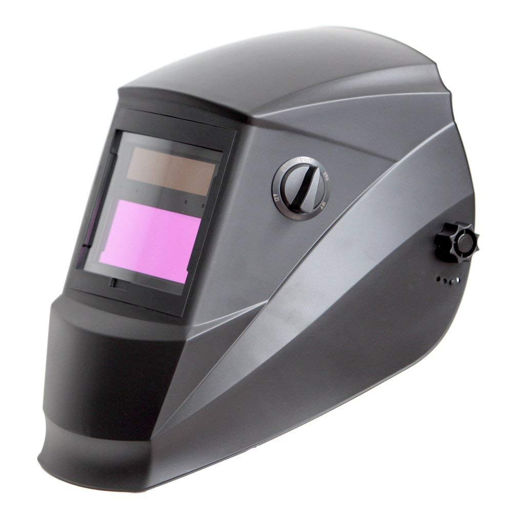 Antra AH6-260-0000 Solar Power Auto Darkening Welding Helmet with Wide Shade Range 4/5-9/9-13 with Grinding Feature Extra lens covers Good for TIG MIG MMA Plasma - Welding Helmets