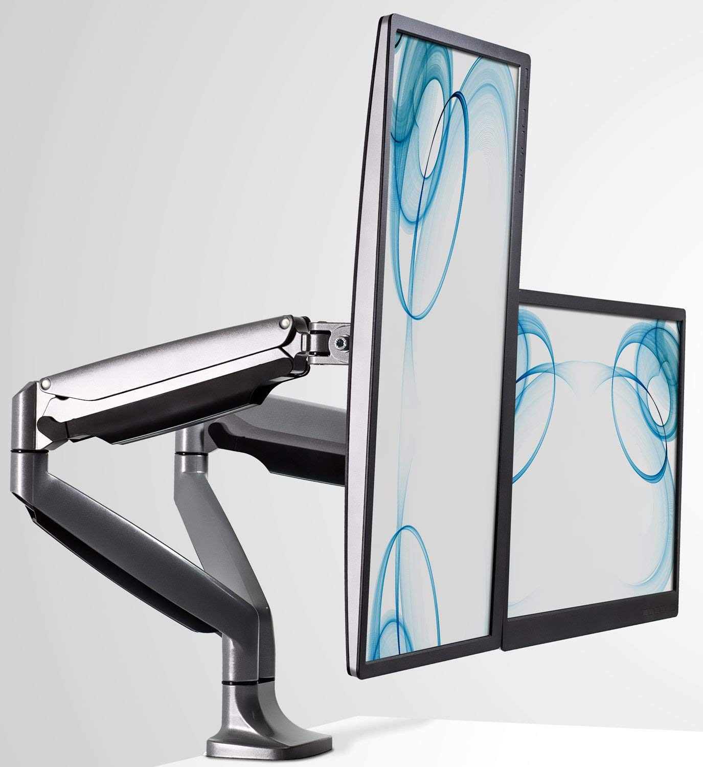 Mount-It! Dual Monitor Desk Mount Arm, Height Adjustable Full Motion Monitor Stand With Gas Spring Arms, Fits 24, 27, 29, 30, 32 Inch Computer Screens