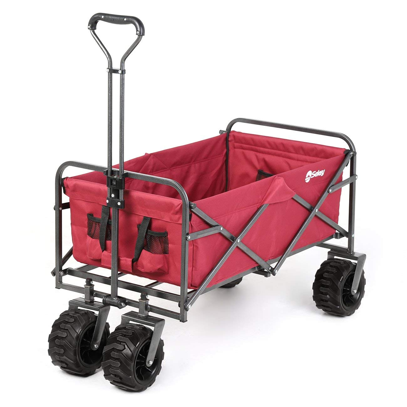 Sekey Folding Wagon Cart Collapsible Outdoor Utility Wagon Garden Shopping Cart Beach Wagon with All-Terrain Wheels, 265 Pound Capacity, Red