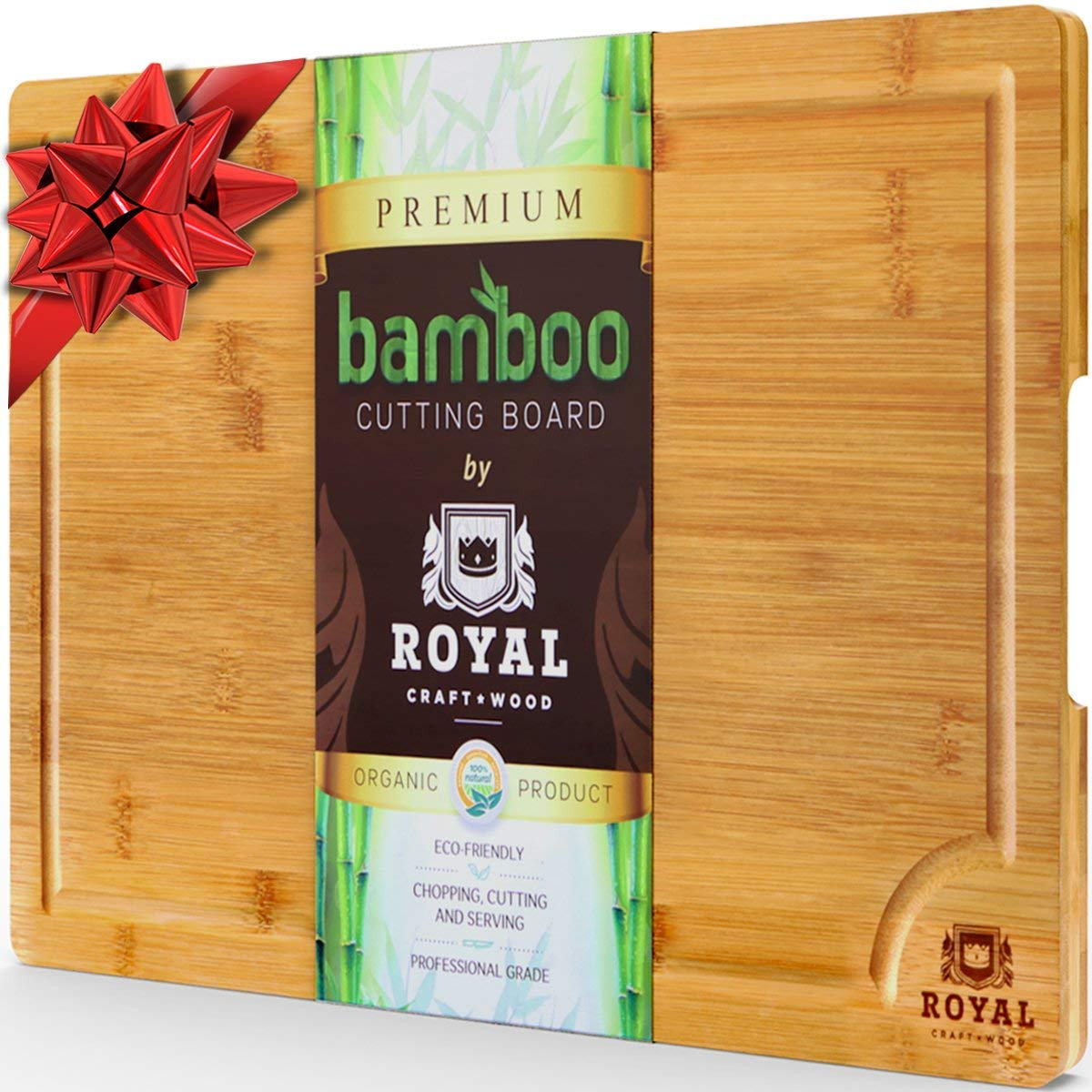 Royal Craft Wood Extra Large Organic Bamboo Cutting Board with Juice Groove - Butcher Block Cutting Boards
