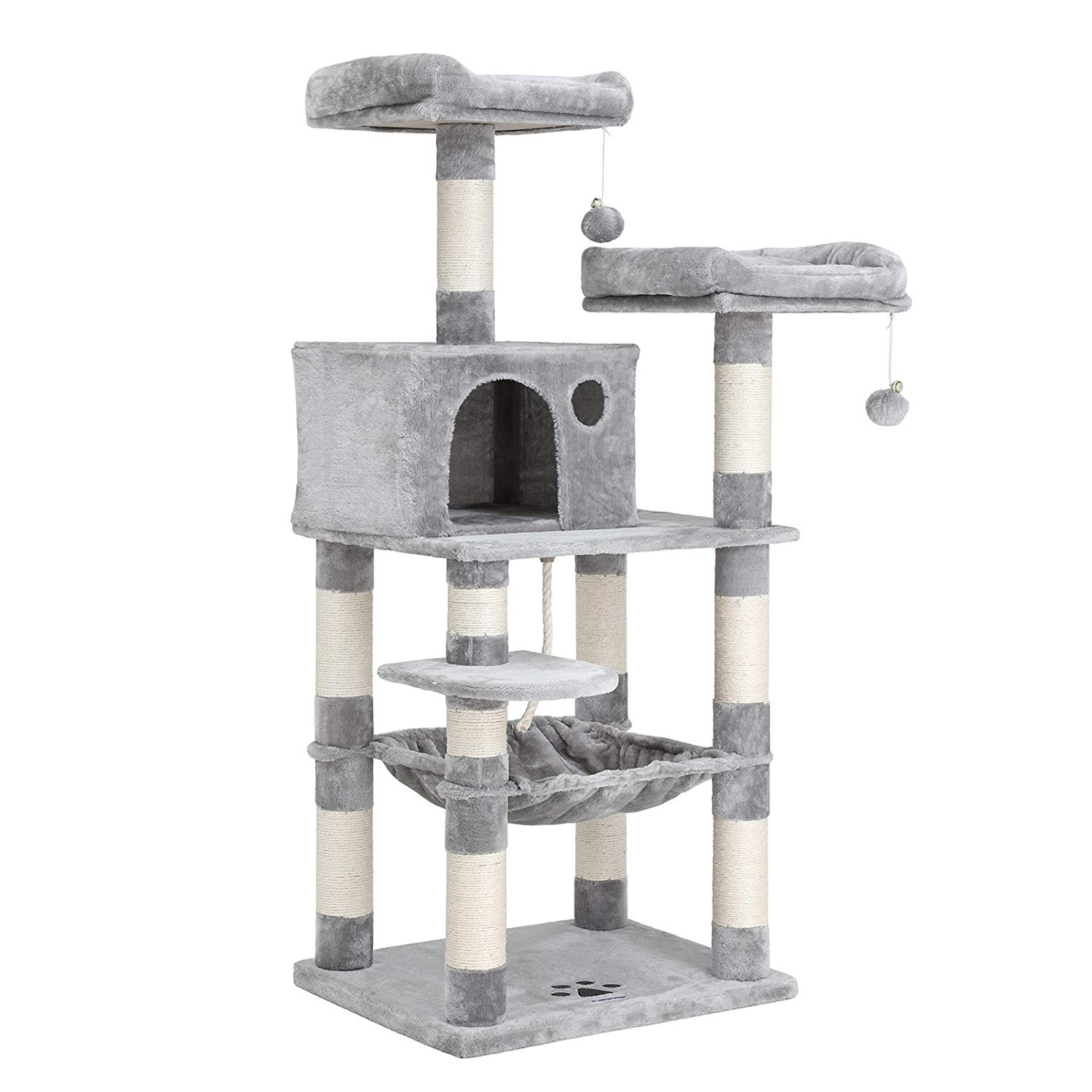 "SONGMICS 58"" Multi-Level Cat Tree with Sisal-Covered Scratching Posts"