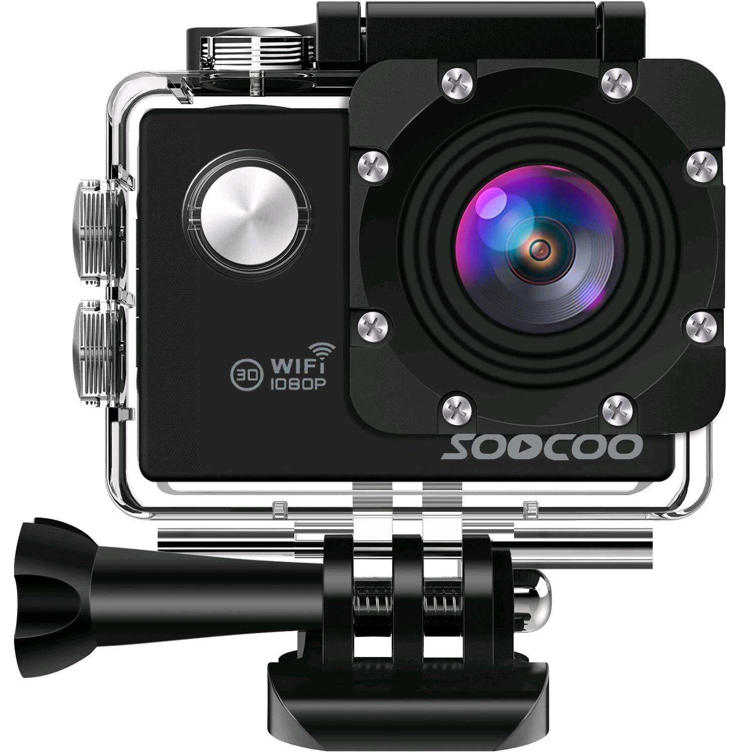 SOOCOO WIFI Action Camera, 12MP Full HD 1080P Sports Video Camera, Black