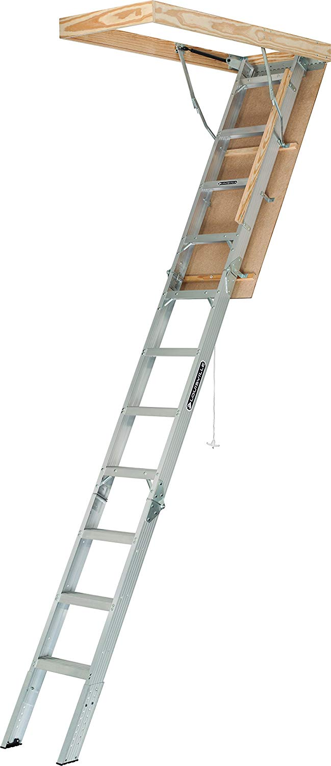 Louisville Ladder 22-1/2 x 54-Inches Elite Aluminum Attic Ladder, 375 Pound Load Capacity, Type IAA, AA2210