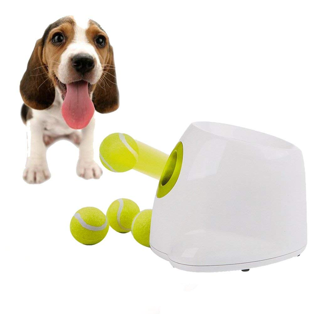 Gounia Interactive Fetching Toys for Dogs Automatic Dog Tennis Ball Launcher Throwing Machine for Trainning Automatic Throw and Fetch Toy, 3 Balls Included
