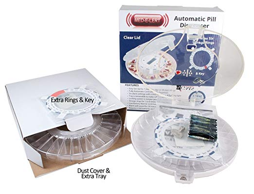 GMS 28 Day Automatic Pill Dispenser - 2Trays - Clear Lid w/6 Daily Alarms with 2 Trays, 2 Keys 2 sets of Dosage Rings