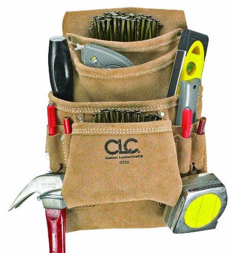 CLC Custom Leathercraft I923X Suede Carpenter's Nail and Tool Bag, 10 Pocket - Carpenters Tool Belt