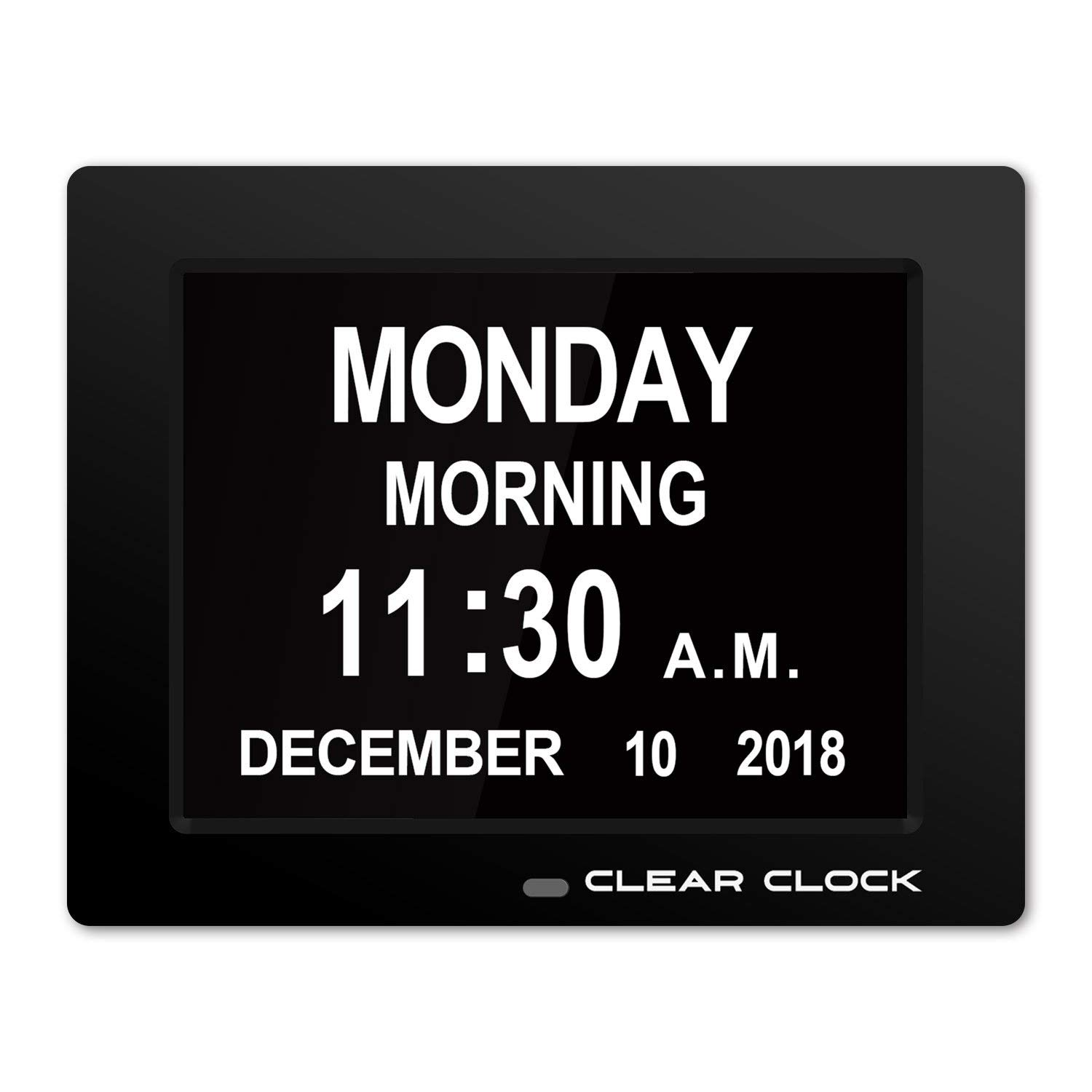 Clear Clock [Newest Version] Extra Large Digital Memory Loss Calendar Day Clock With Optional Day Cycle + Alarm Perfect For Elderly + Impaired Vision Dementia Clock Black