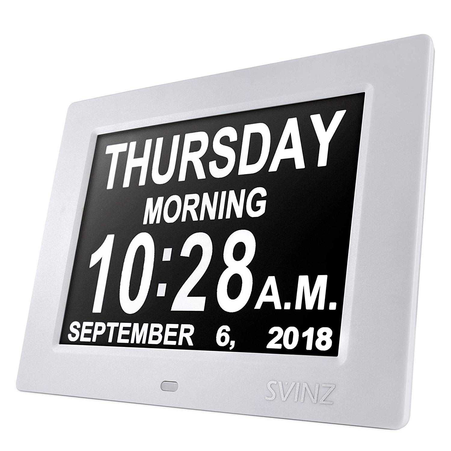 "SVINZ 8"" Digital Calendar Alarm Day Clock with 3 Alarm Options, Extra Large Non-Abbreviated Day & Month SDC008-2 Color Display Settings"
