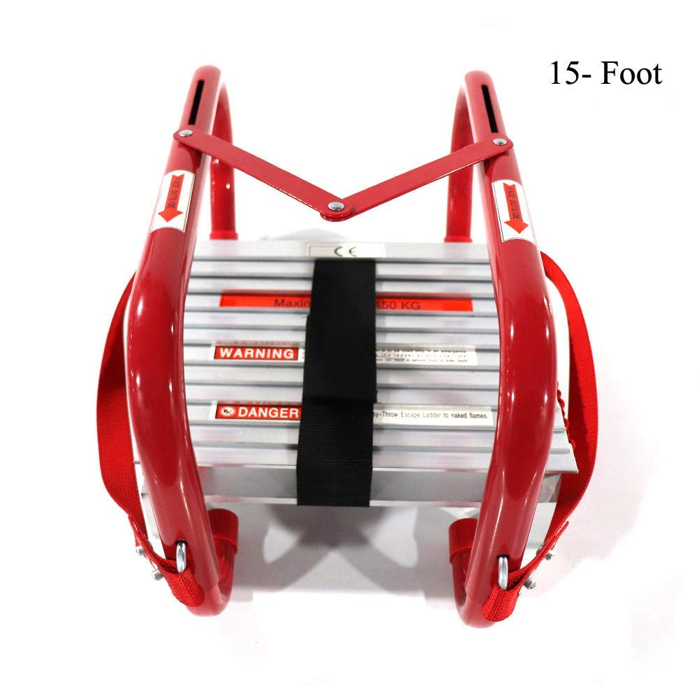 HYNAWIN Portable Fire Ladder Two-Story Emergency Escape Ladder 15 Foot with Wide Steps V Center Support - Fire Escape Ladders