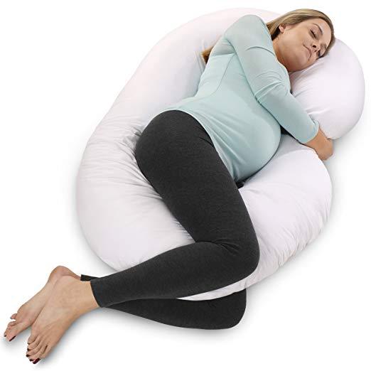 PharMeDoc Full Body Pregnancy Pillow - Maternity Pillow for Pregnant Women - C Shaped Body Pillow w/100% Cotton Pillow Cover