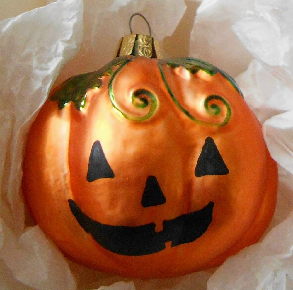Vintage Christopher Radko Jack O Lantern Glass Halloween Ornament
