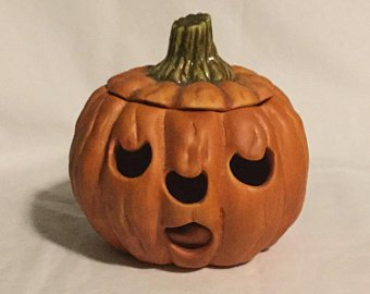Vintage J D Pottery NJ Ceramic Halloween Jack O Lantern