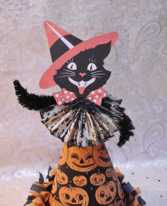 Halloween Party Decoration, Black Cat, Altered Art Creation, Vintage Halloween Inspired, Kitschy Halloween, Tree Topper, Made to Order