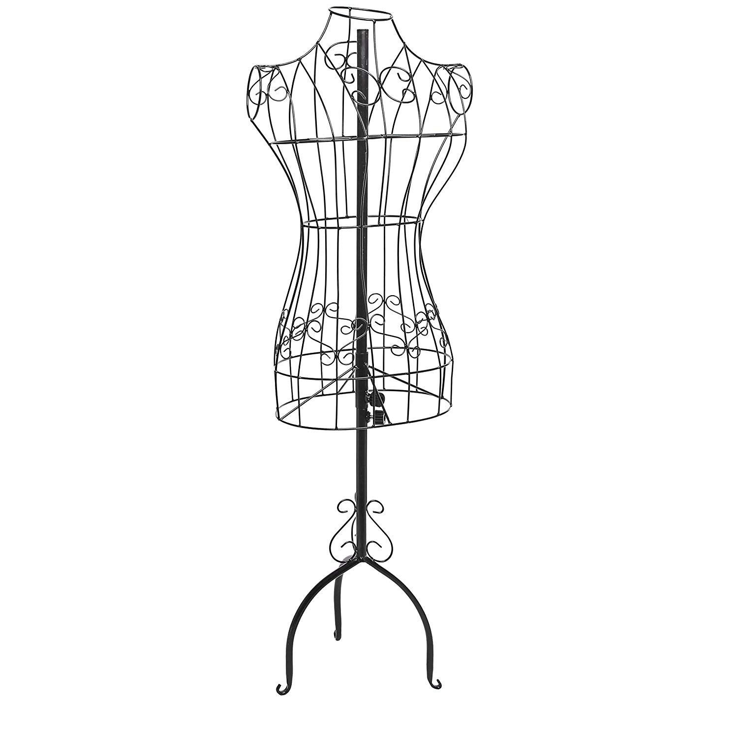 Designers Black Metal Adjustable Height Wire Frame Dress Form Display Stand