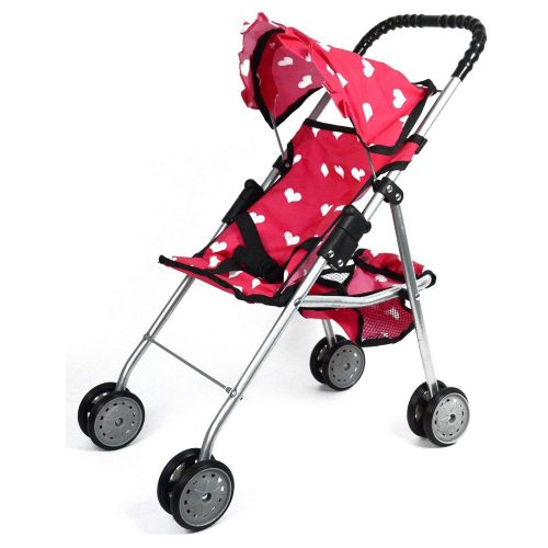 The New York Doll Collection My First Doll Stroller with Basket and Heart Design Foldable Doll Stroller - Baby Doll Strollers