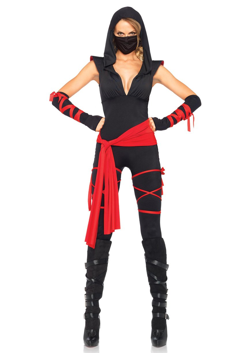 Leg Avenue 85087 4 Piece Deadly Ninja Costume Set Medium Black & Red