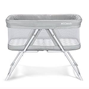 2in1 Rocking Bassinet One-Second Fold Travel Crib Portable Newborn Baby, Gray