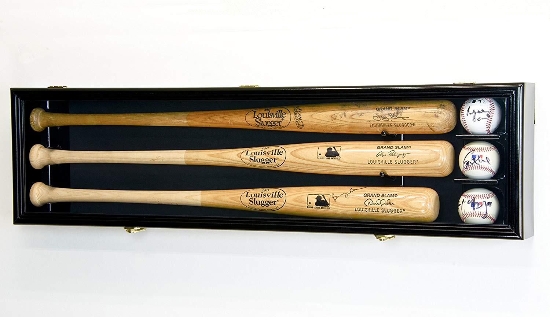 3 Baseball Bat Display Case Cabinet Holder Wall Rack Custom Options 98% UV