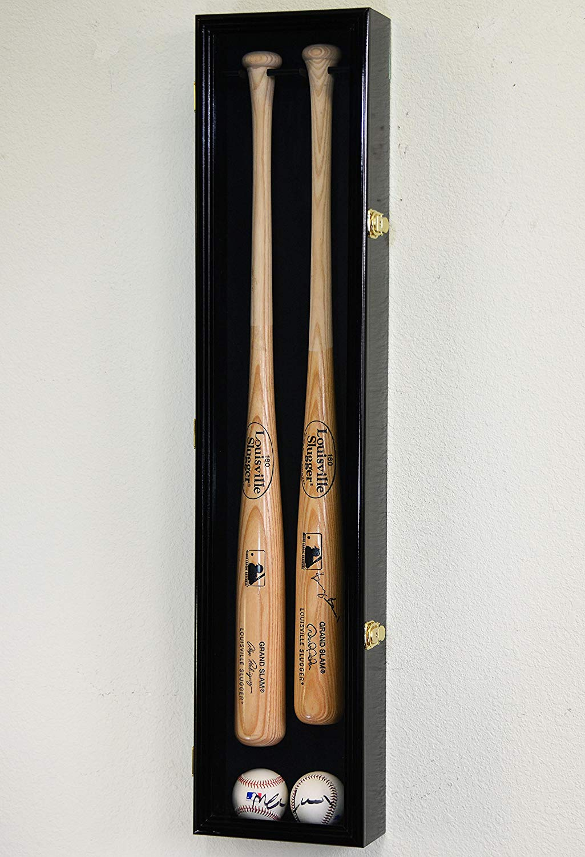 2 Baseball & Bat Display Case Cabinet Wall Mount Holder Rack