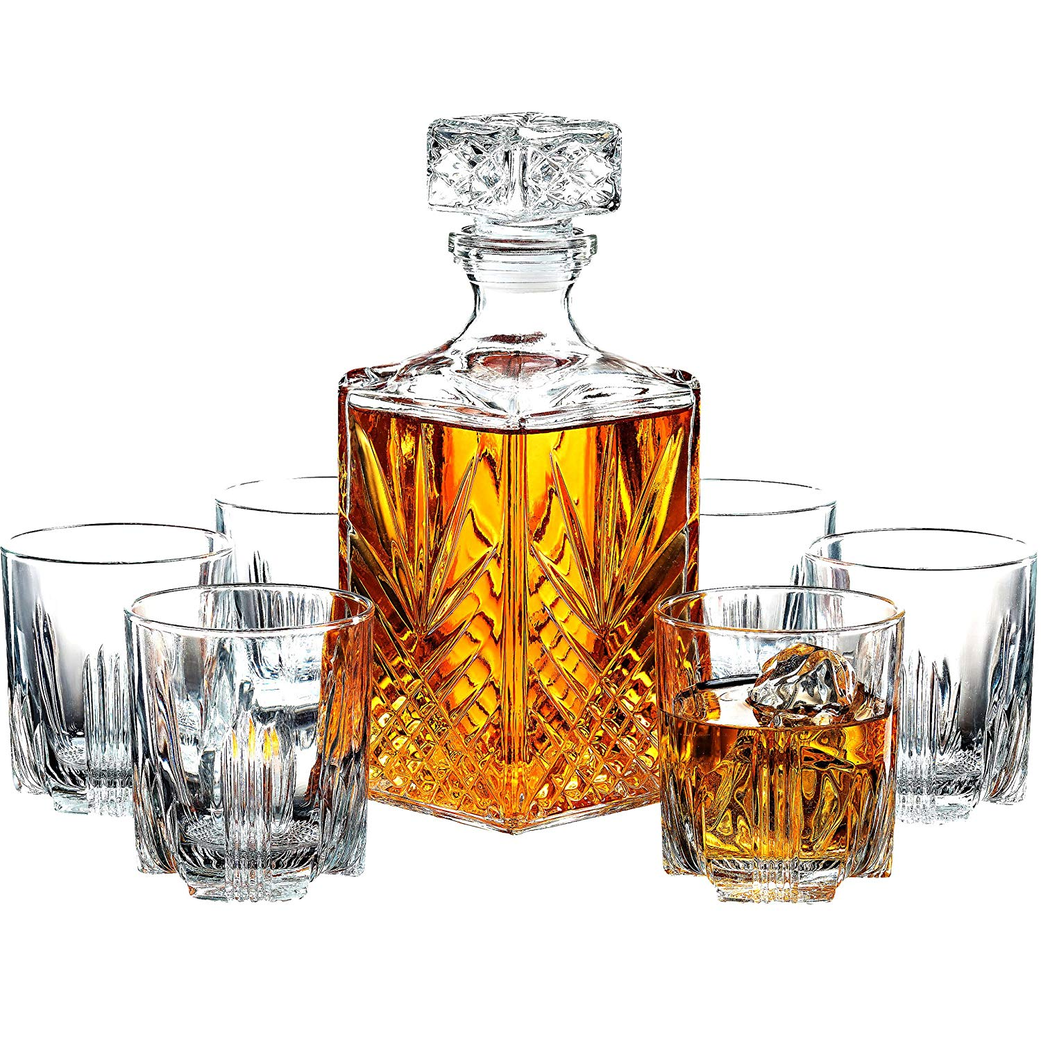 Paksh Novelty Italian Crafted Glass Decanter and Whisky Glasses Set