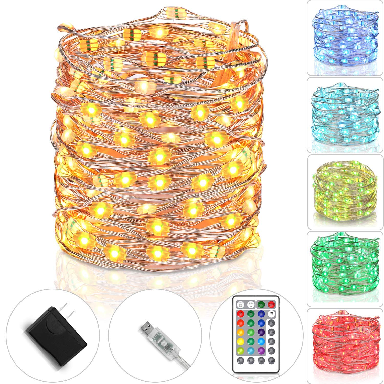 Tesyker Fairy Lights with the USB Powered Dimmable 16 sixteen Colors  LEDs Multicolor