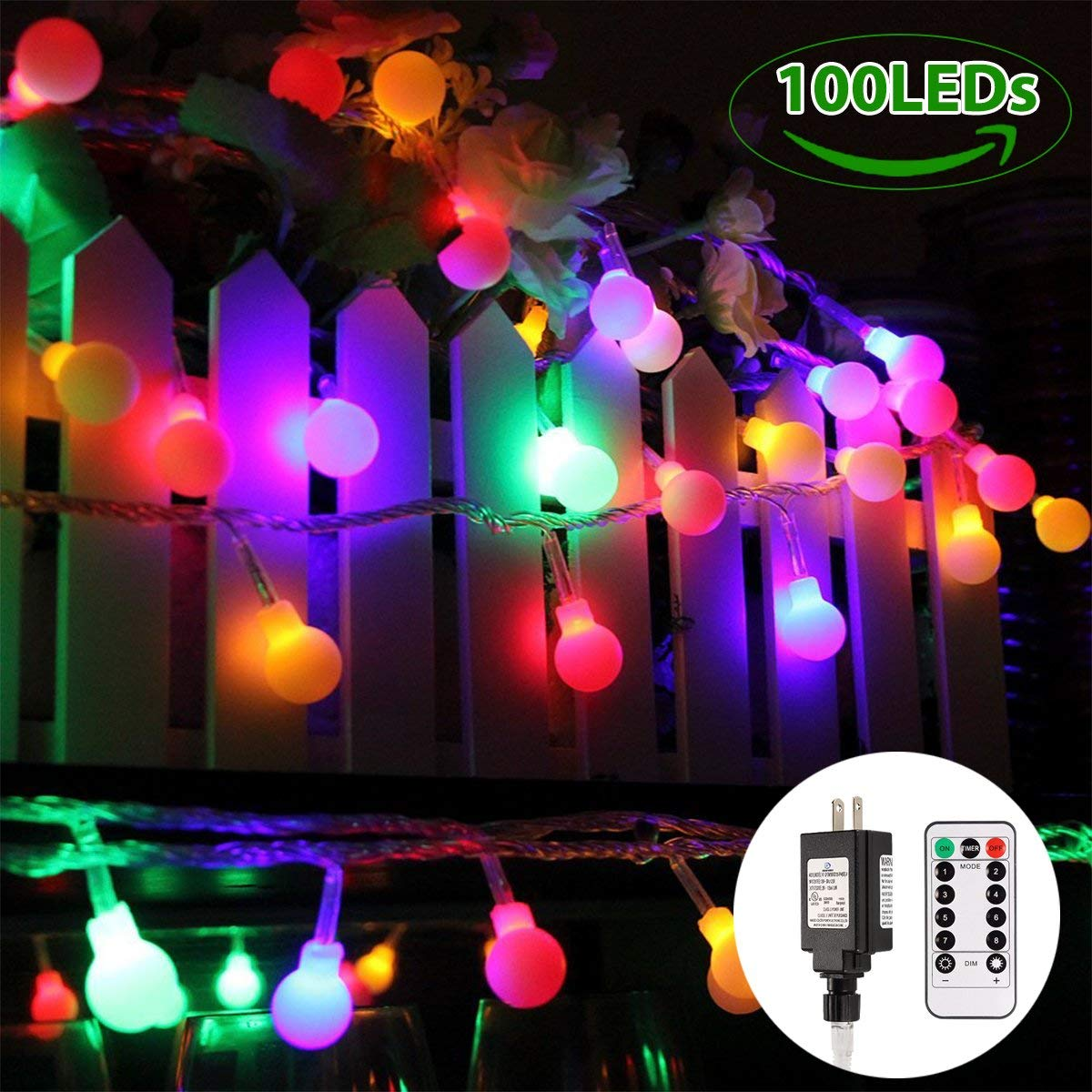 Globe String Lights, LED Colored Fairy Lights