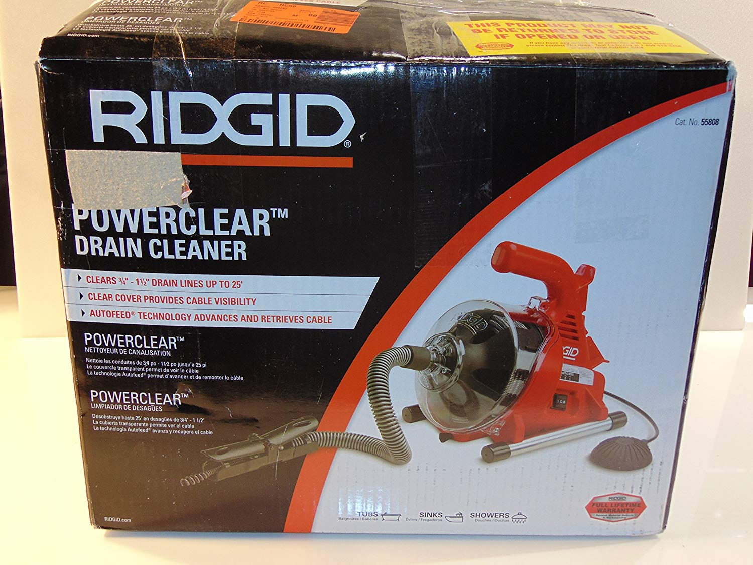 "Ridgid 55808 PowerClear Drain Cleaning Machine 120V Drain Cleaner Cleans Tub, Shower or Sink Blockages from 3/4"" to 11/2"" diameter, Red"