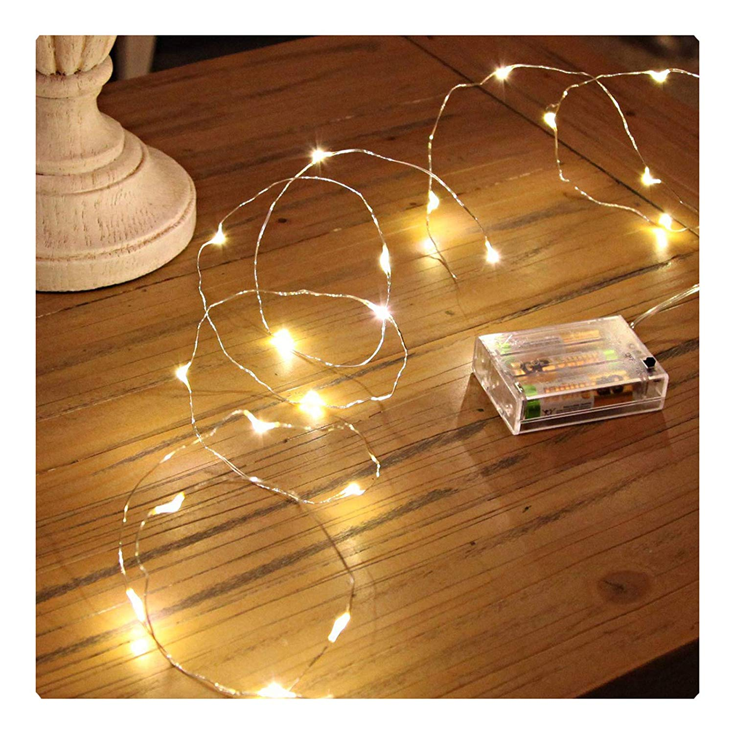 Sanniu Led String Lights, Mini Battery Powered Copper Wire Starry Fairy Lights, Battery Operated Lights for Bedroom, Christmas, Parties, Wedding, Centerpiece, Decoration (5m/16ft Warm White) - LED Wire Lights