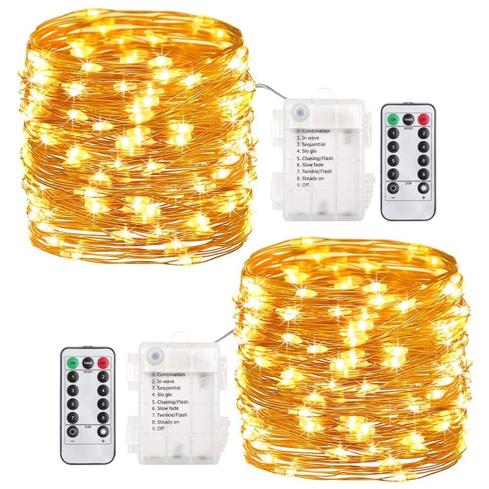 GDEALER 2 Pack Fairy Lights Halloween String Lights Battery Operated Waterproof 8 Modes 60 LED 20ft String Lights Copper Wire Firefly Lights Remote Control Christmas Decor Lights Warm White