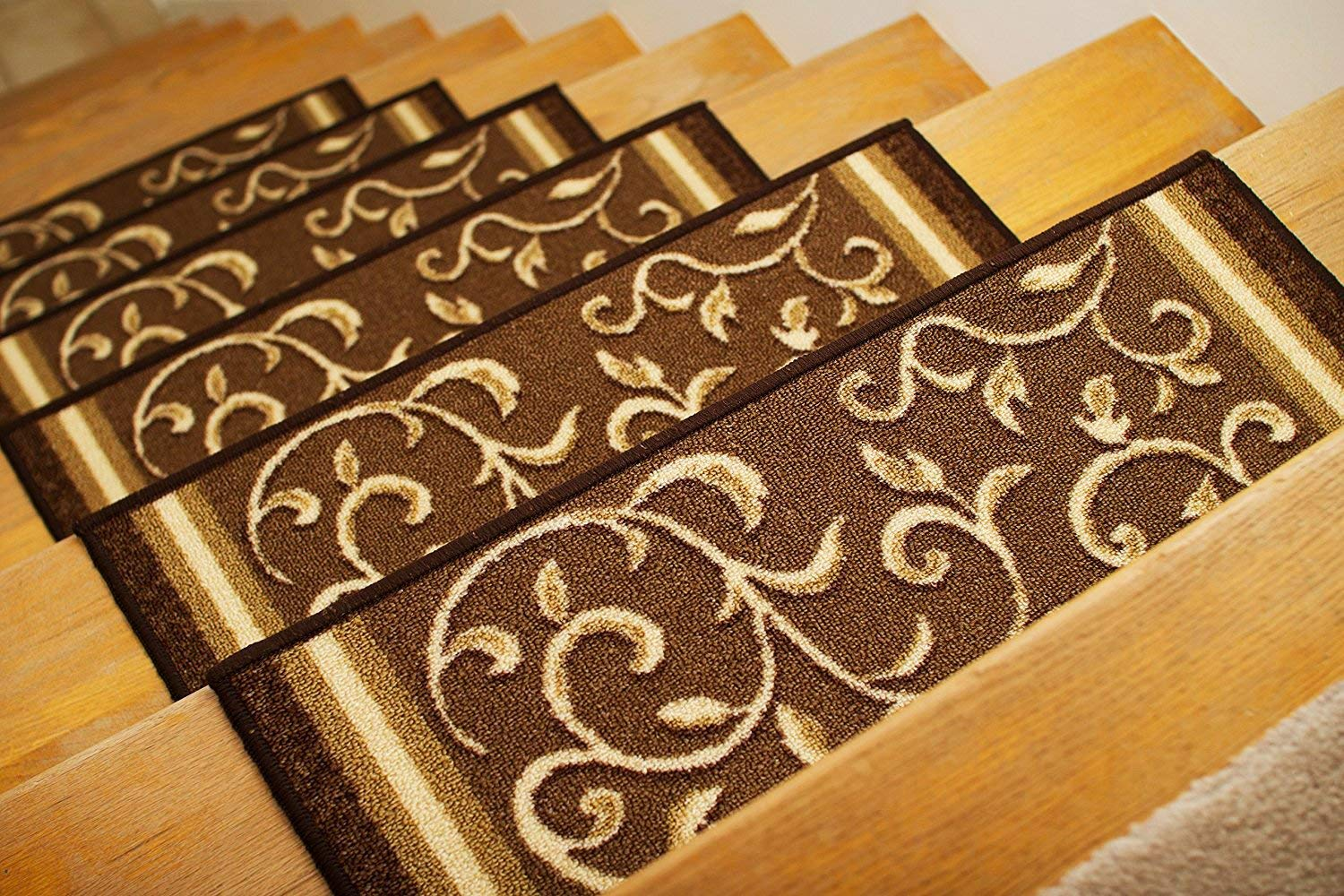 "Gloria Rug Skid-Resistant Rubber Backing Gripper Non-Slip Carpet Stair Treads - Washable Stair Mat Area Rug (SET OF 7), 8.5"" x 26"", Brown Floral Design"