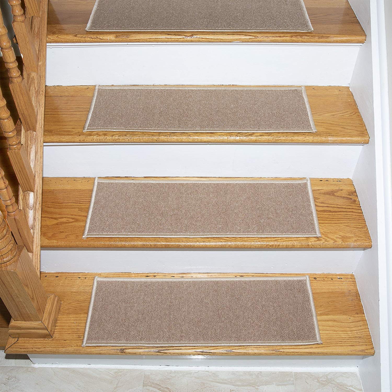 "Ottomanson Skid-Resistant Rubber Backing Non-Slip Carpet Stair Treads-Machine Washable Area Rug(Set of 7), 8.5"" x 26.5"", Dark Beige"