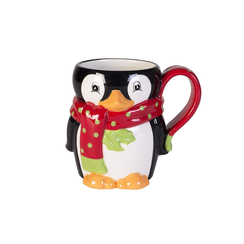 Fitz and Floyd 49-563 Merry Mug Ceramic Penguin Coffee Mug, 16-Ounce