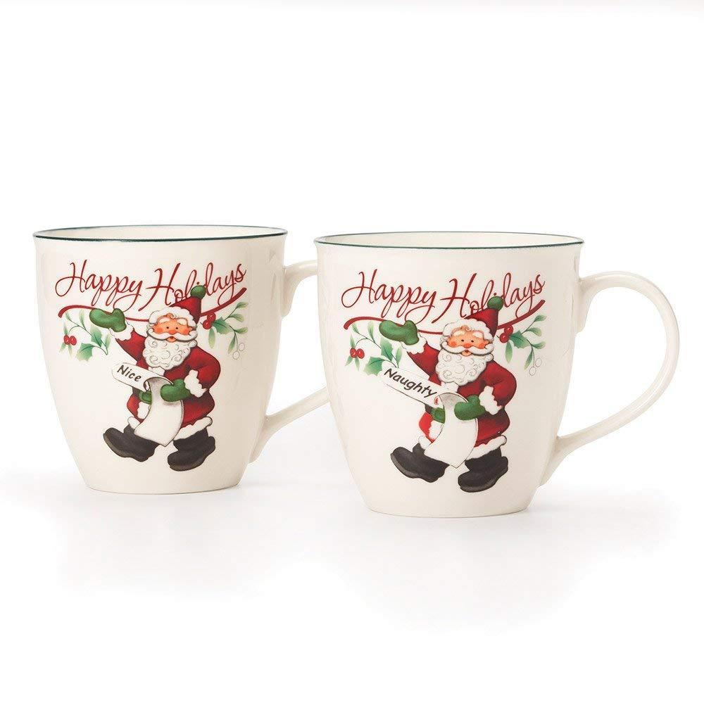 Pfaltzgraff Winterberry Mug Porcelain Naughty And Nice (Set of 2), 20 oz, Assorted - 5159550