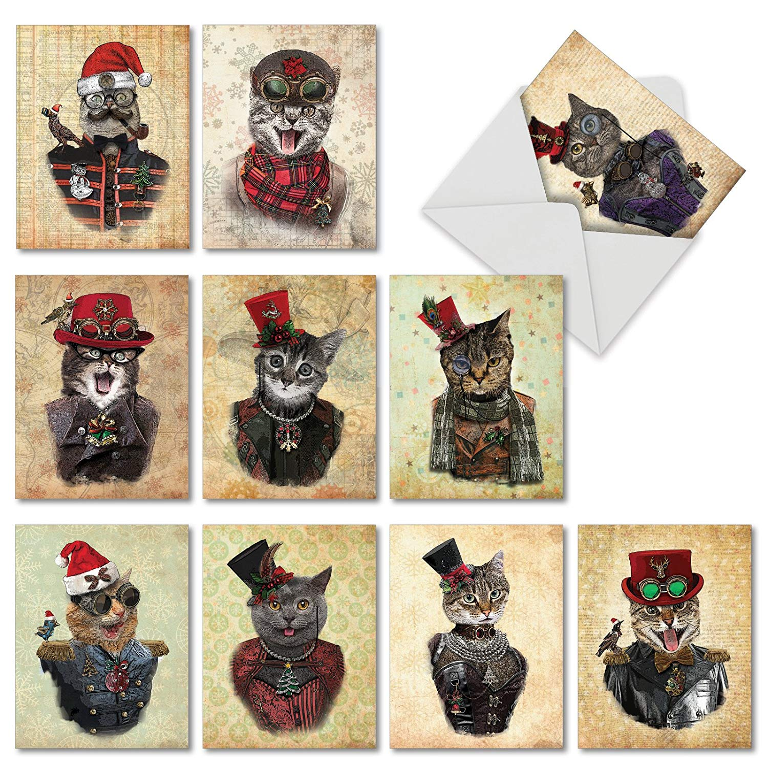 10 Assorted 'Christmas Steampunk Cat' Greeting Cards