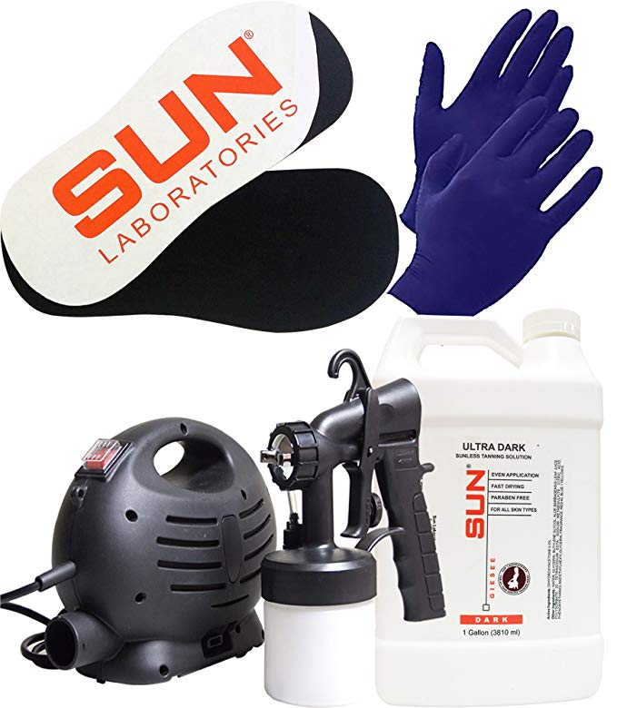 Sun Laboratories Sunless Spray Tan Machine - At Home Airbrush Tanning System with Dark - Spray Tan Solution, Gloves + Sticky Feet - Natural Sunless Airbrush HPLV, Body and Face for Bronzing