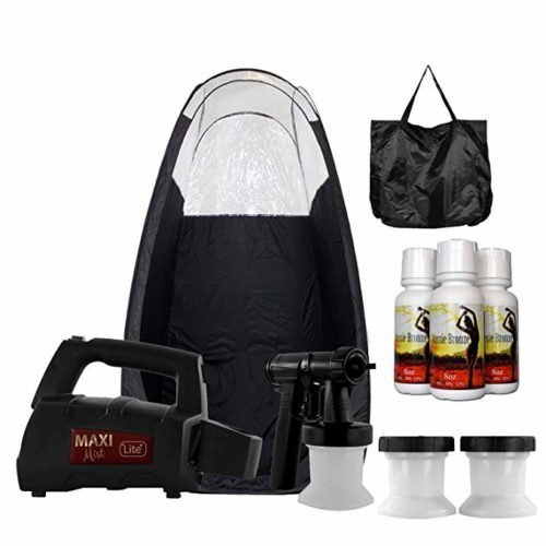 Maxi-Mist Lite Plus Sunless Spray Tanning KIT Tent Machine HVLP Airbrush Tan Maximist BLK
