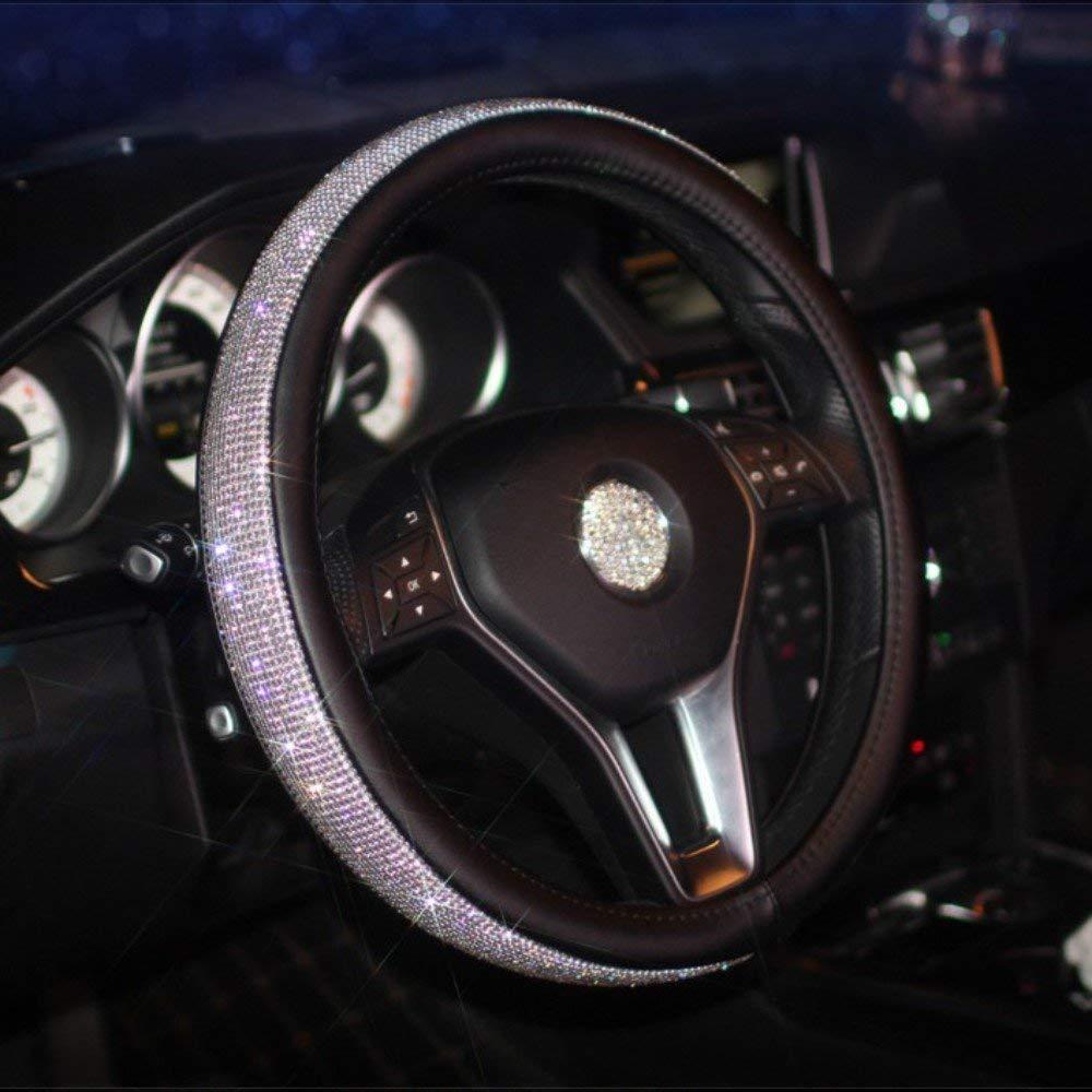 KiShi Car Leather Steering Wheel Cover Universal Breathable Anti-slip Wheel Sleeve Protector (Rhinestones (black)