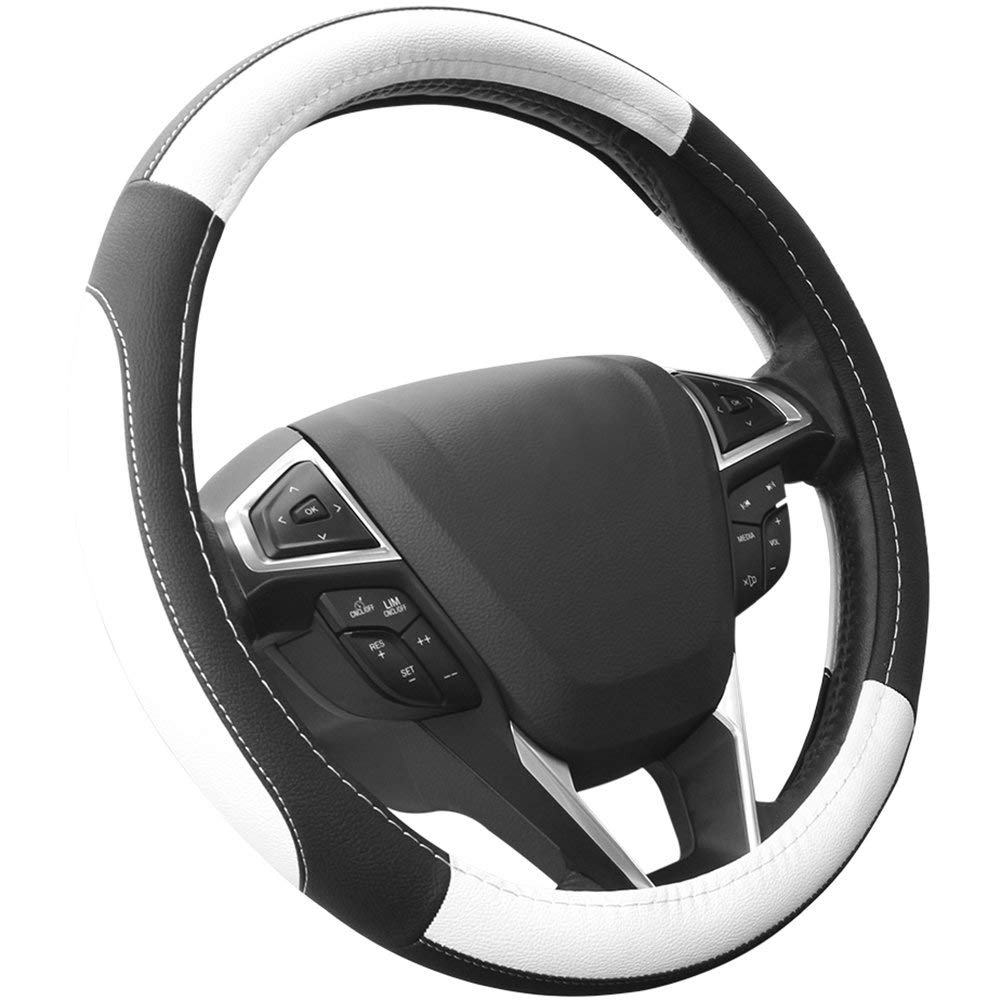 SEG Direct Black and White Microfiber Leather Auto Car Steering Wheel Cover Universal 15 inch