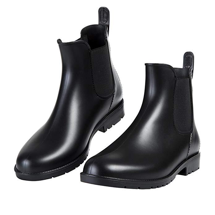 Asgard Women's Short Rain Boots Waterproof Slip-On Ankel Chelsea Booties