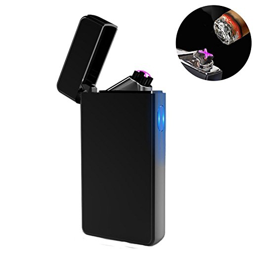 Dual Arc Plasma Lighter USB Rechargeable Windproof Flameless Butane
