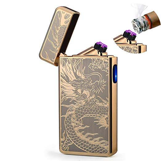Dual Arc Plasma Lighter USB Rechargeable Windproof Flameless Butane Free Electric Lighter